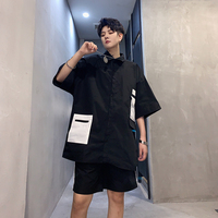 Men Streetwear Hip Hop Summer 2 Pieces Sets (shirt+shorts) Male Loose Casual Short Sleeve Cargo Shirts Cardigan Harem Shorts