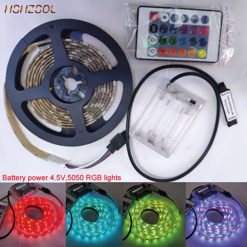 0.5m/1m/2m/pcs 4.5V 3aa Battery Power 5050 LED Flexible RGB Color Changing Lights 16 Color With 24 Key IR Remote Controller