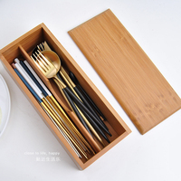 Bamboo Tableware Storage Box with Cover Natural Wood 2 Slots Utensils Storage Box Chopsticks/Spoons Box Eco Kicthen Organizer