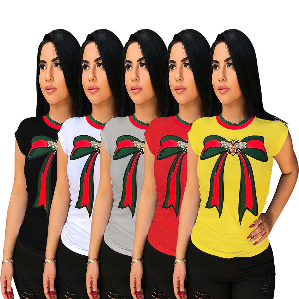 Women's Ribbon Stripe Patchwork Printed T-shirts Multicolored Spot Short Sleeve TOPS