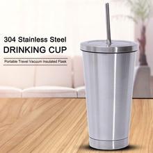500 мл бутылка для воды из нержавеющей стали стакан с соломинкой горячей и холодной двойной стенкой питьевые чашки кофейная кружка портативный дорожный стакан