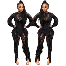 Doyerl Long Sleeve Sexy Sheer Black Lace Bodysuit Women See Through Ruffle Party Club