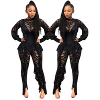 Long Sleeve Sexy Sheer Black Lace Jumpsuit Bodysuit Women See Through Ruffle Party Club Wear One Piece Bodycon Jumpsuit Rompers