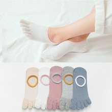 1 Pairs/Lot Autumn New Non-Slip Boat Sock Solid Color Simple Five Finger Ladies Cotton Breathable Toe 5 Colors