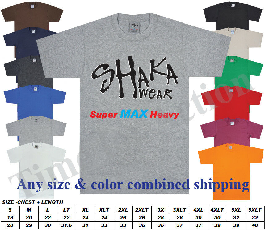 6 Pack Shaka Wear Mens Max Heavyweight T-shirt White Basic Plain Tee
