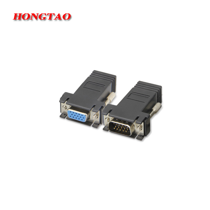 VGA Female To RJ45 Female LAN CAT5 CAT6 Network Cable Adapter Connector Extender Kit Computer adapter VGA male to male Black