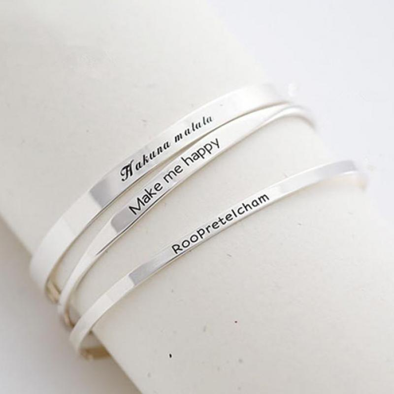 195470da1240c Detail Feedback Questions about Genuine Solid 100% 925 Sterling Silver Cuff  Bracelets Brief Letter Vintage Wedding Adjustable Sterling Silver Jewelry  on ...