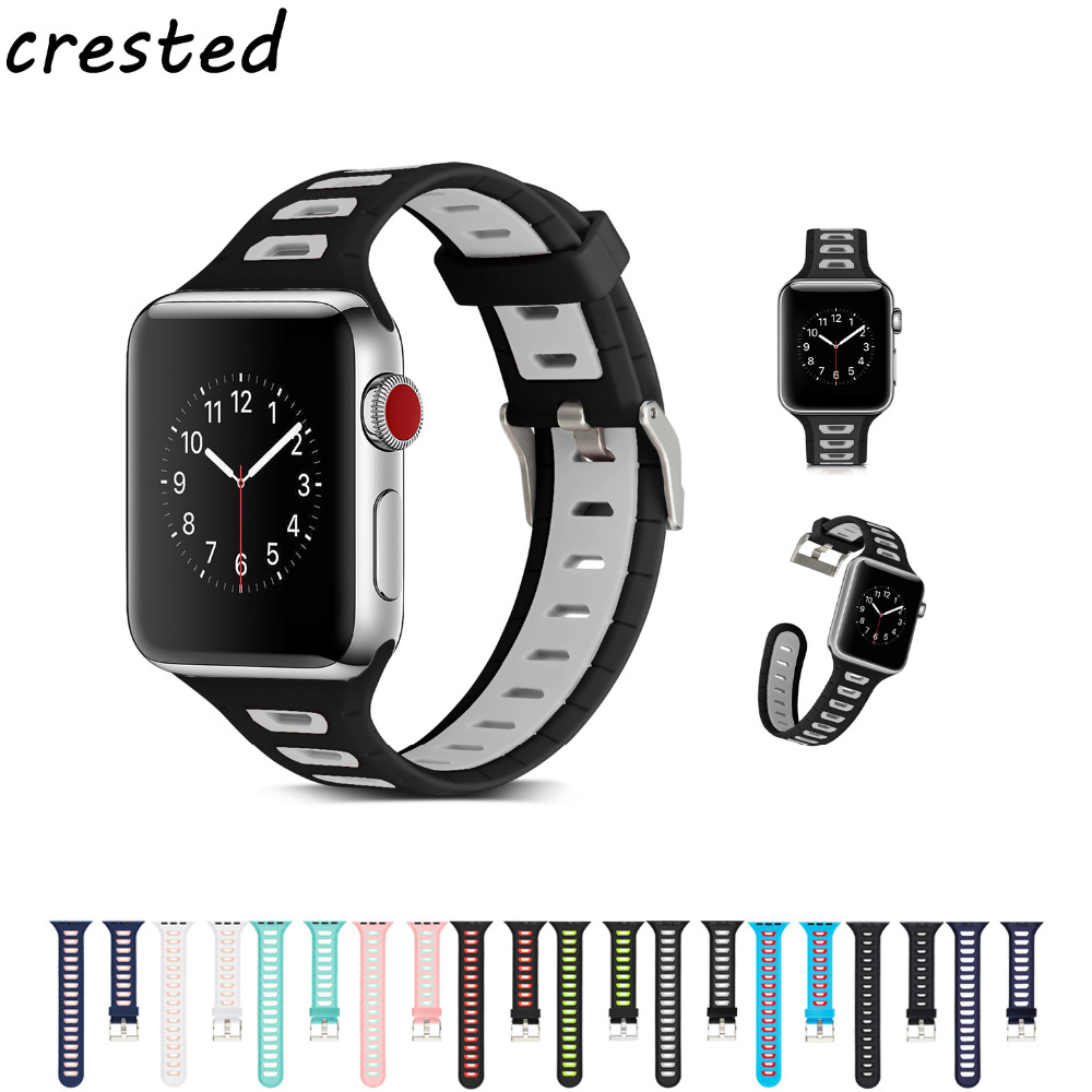CRESTED sport silicone strap for apple watch band 42mm 38mm bracelet watchband for iwatch 3/2/1 watch accessories rubber band jansin 22mm watchband for garmin fenix 5 easy fit silicone replacement band sports silicone wristband for forerunner 935 gps