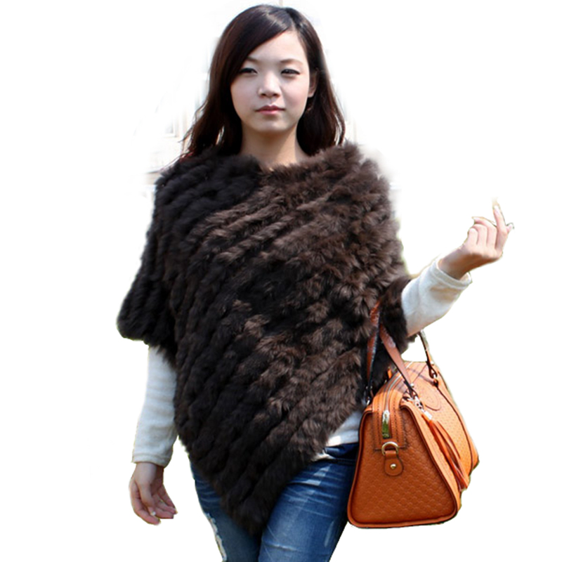 Women Fashion Solid Pullover Knitted Genuine Rabbit Fur Poncho Cape Ladies Real Fur Knit Amic Wraps Triangle Shawls Outwear Coat in Real Fur from Women 39 s Clothing