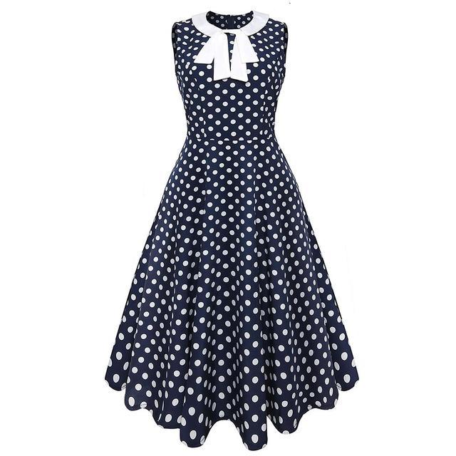 3b546db9925 Women New 50s 60s Retro Vintage Dress Polka Dot Patchwork Sleeveless Spring  Summer Dress Rockabilly Swing Party Dress