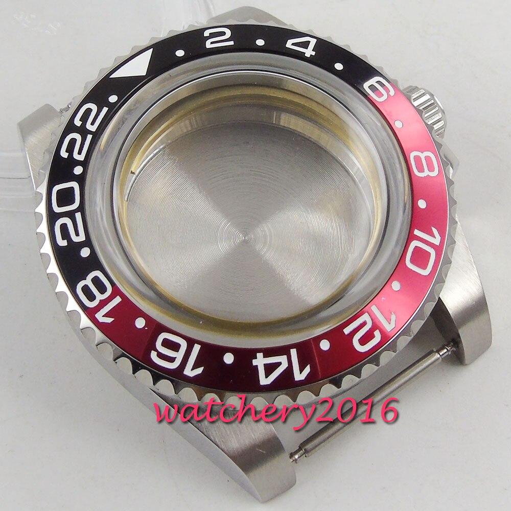 Inoxidável Assista Case Vidro Caber 2836 Miyota 8215 821a 8205 Movimento Relógio Masculino 40mm Aço