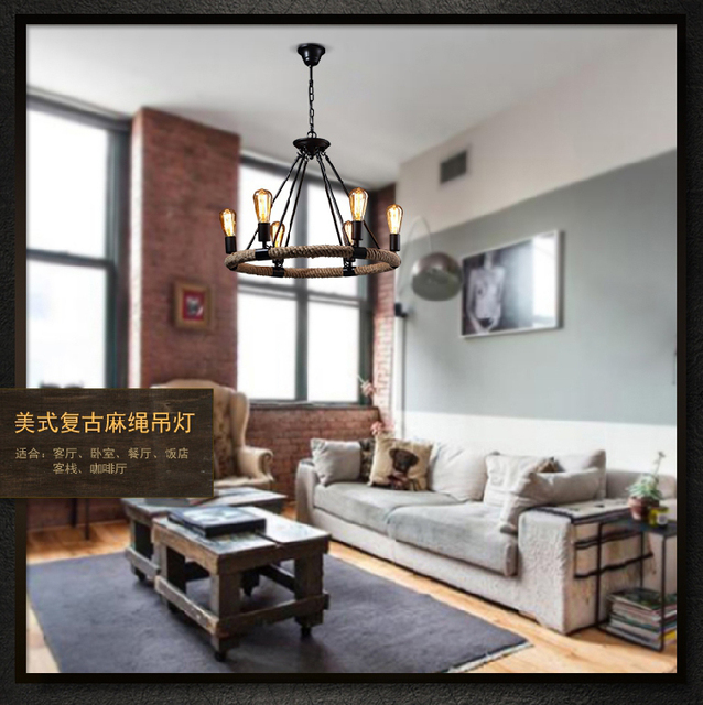 American Village Vintage Retro Pendant Lamp Creative Pastoral Rustic Country Style Rope Lights Cafe Restaurant Bar