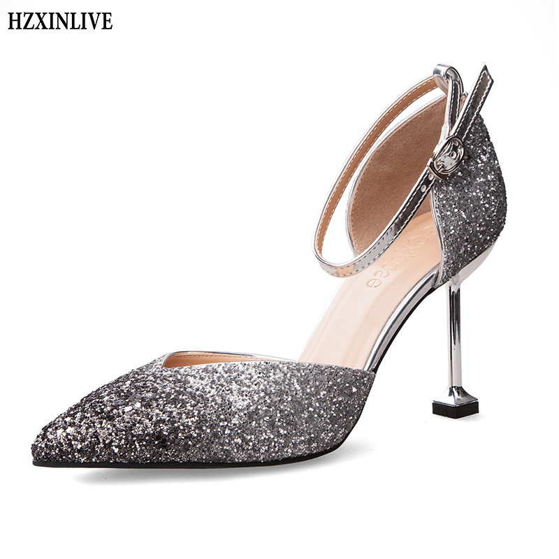 HZXINLIVE 2018 Summer Women Sandals High Heel Shoes 8 Cm Women Pumps Ladies Dress Thin Heel Sandals Sexy Female Sandalen Dames