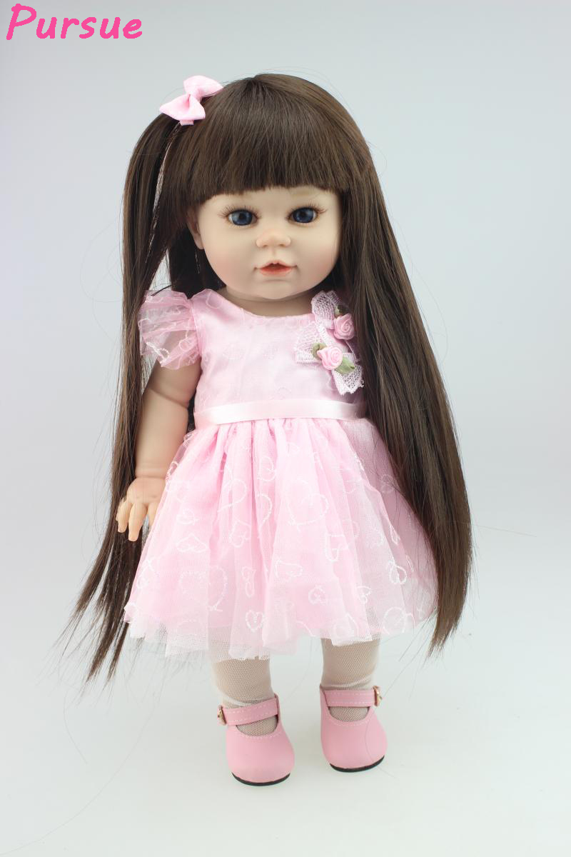 Pursue 18 inch Pink Dress Princess American Girl Lifelike BJD Doll Reborn Mini Plastic Baby Dolls for Girl Kids real-baby-doll princess dress for 18 inches american girl doll children bjd baby born dolls handmade accessories toy christmas birthday gift