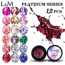 12 Pcs Platinum Colorful Bling 8g Gel Nail Good Quality Beauty Fashion Newest Technology Polish Set