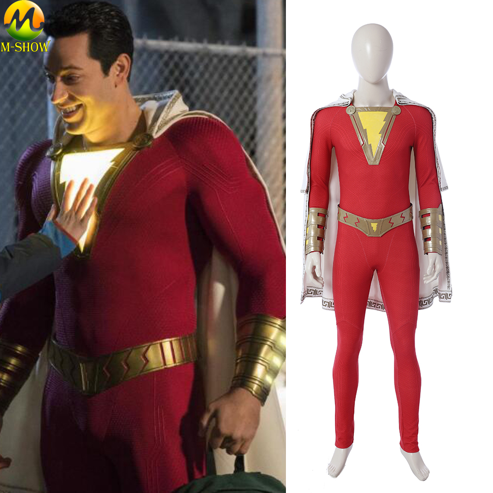 2019 Captain Marvel Shazam Cosplay Costume Shazam Cosplay Outfit Halloween Costumes For Men Jumpsuit Cloak Boots Custom Made