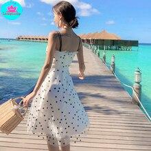 купить!  2019 Seaside Holiday Beach Girl Летнее длинное платье с принтом и поясом  длиной до колена  без рука Лучший!