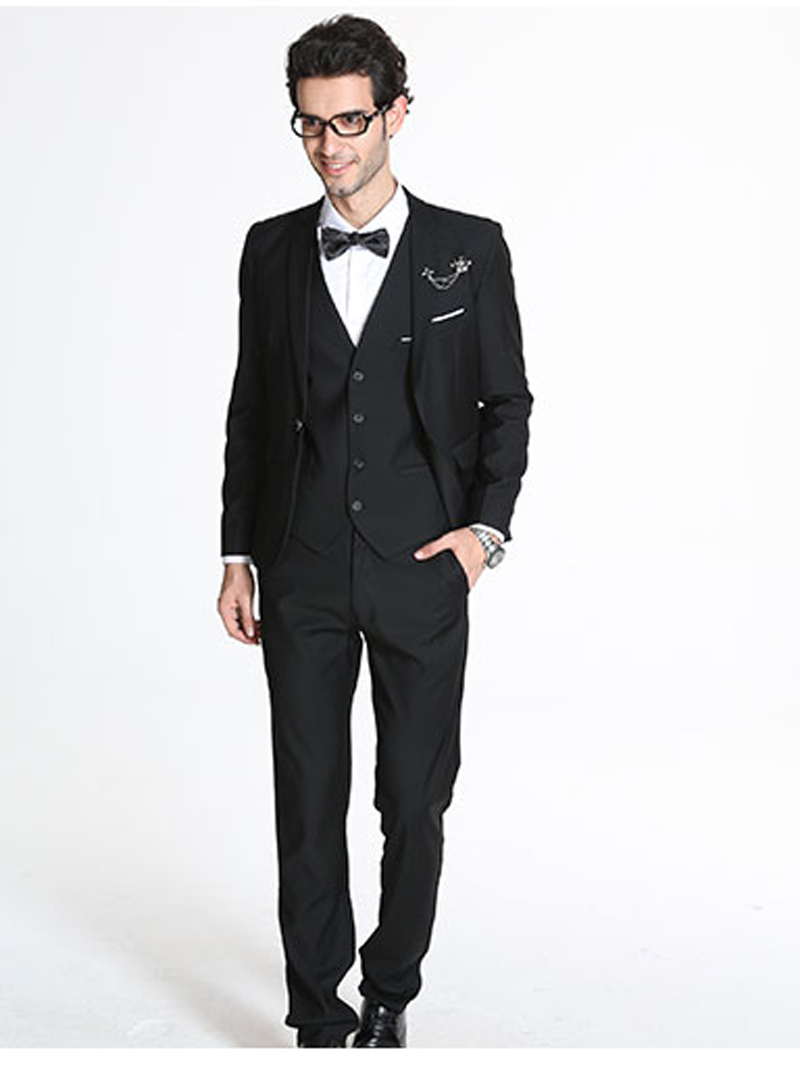 2017 spring and autumn new style mens business casual groom wedding dress solid slim three pieces