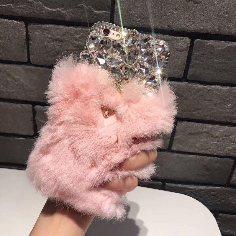 For Samsung Galaxy J5 J7 Genuine Rabbit Hair Case Bling Luxury Rhinestone Fluffy Fur Cover For Galaxy J510 J710 2015 2016 2017