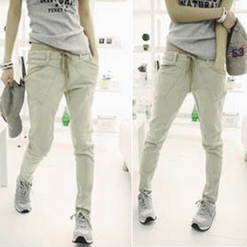 Women's Loose Casual Solid Color Pockets Drawstring Waist Trousers Harem Pants New Arrival