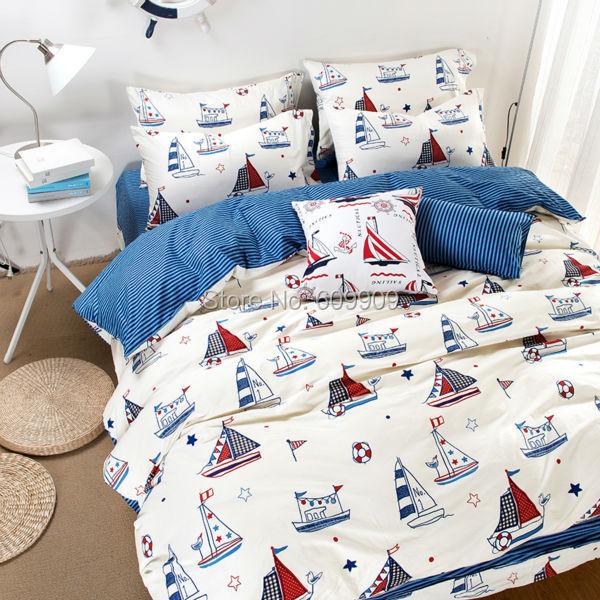 Nautical Theme Bedding Boys Kids Sailboat Bed Sheets White ... White Coastal Themed Bedding