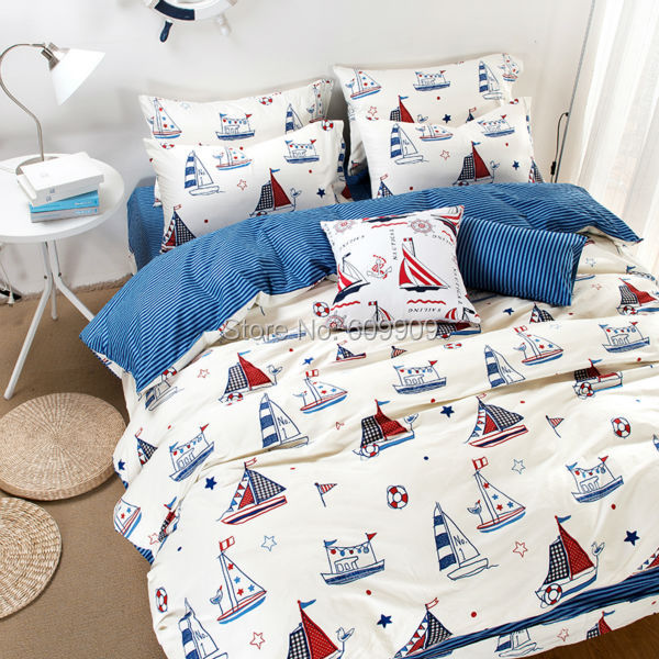 Nautical Theme Bedding Boys Kids Sailboat Bed Sheets White Blue Red Duvet  Cover Set 4 Or