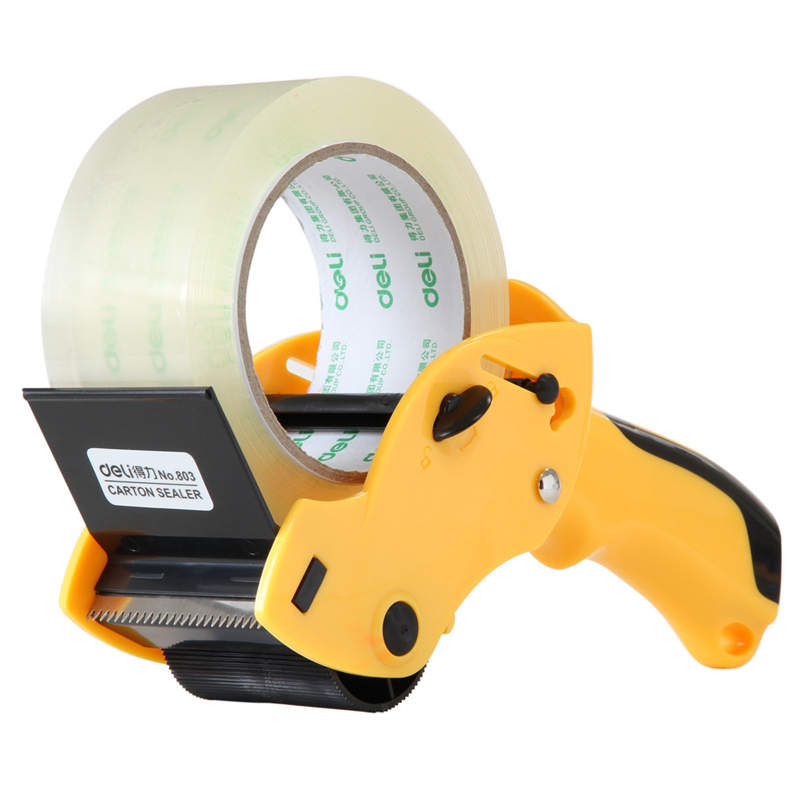 DL / Properly Sealed Box 803 Large Plastic Handheld Transparent Tape Cutter 6cm Wholesale Price Office & School Stationery
