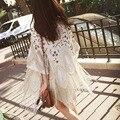2015 Лето Красавцы Впп Марка Дизайн Высокое Качество Белый Тяжелая Вышивка Бисером Длинной бахромой Блестками кардиган Кимоно куртка