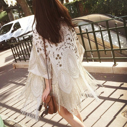 2015 Summer Fashon Runway Brand Design High End Quality White Heavy Embroidery Beaded Long fringe Sequins cardigan Kimono jacket
