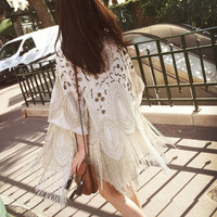 Summer Fashon Runway Brand Design High End Quality White Embroidery Beaded Long fringe Sequins cardigan Kimono jacket