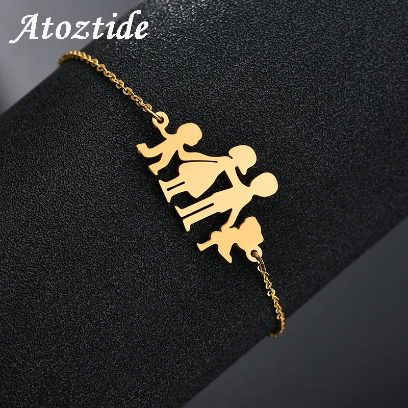 Atoztide Fashion Stainless Steel Figure Family Bracelets With Mom Dad Girl Boy Women Charm Adjustable Gold Bracelets Kids Gift