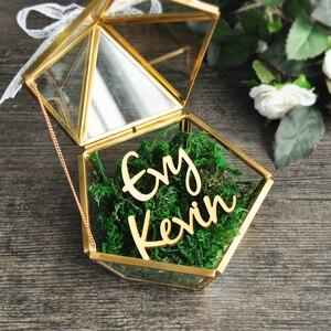 Image 3 - Personalizado Pentagon joyero anillo portador almohada, rústico anillo de boda titular caja propuesta regalo de compromiso