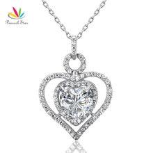 Peacock STAR 3 Carat 925 corazón colgante collar de la boda de dama de honor joyería CFN8010