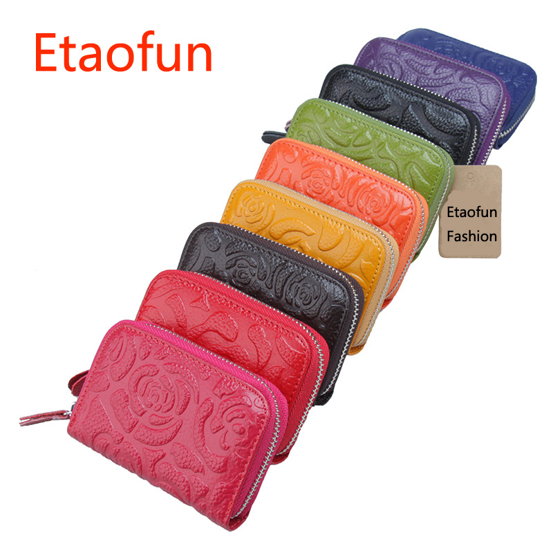 Etaofun fashion Printing Colorful Coins Purse Genuine Leather Women Cards Holder Small Business credit card cover top lady's bag 2008 donruss sports legends 114 hope solo women s soccer cards rookie card