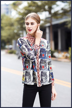 European 2018 spring women s lapel loose long sleeve shirt Chic animal print blouses