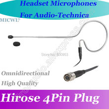 MICWL T75 Black Omni Directivity ear Hook Headset Microphone for Audio Technica Wireless Beltpack System Hirose 4Pin connector micwl me3 head worn condenser headset microphone for audio technica wireless beltpack system hirose 4pin connector