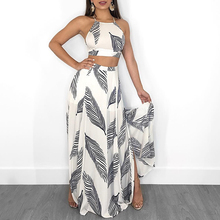 2019 Summer Leaf Print Backless Elegant Party Suit Cami Top Split Maxi Skirt Set