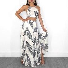 2019 Summer New Arrival Leaf Print Backless Elegant Party Suit Set Cami