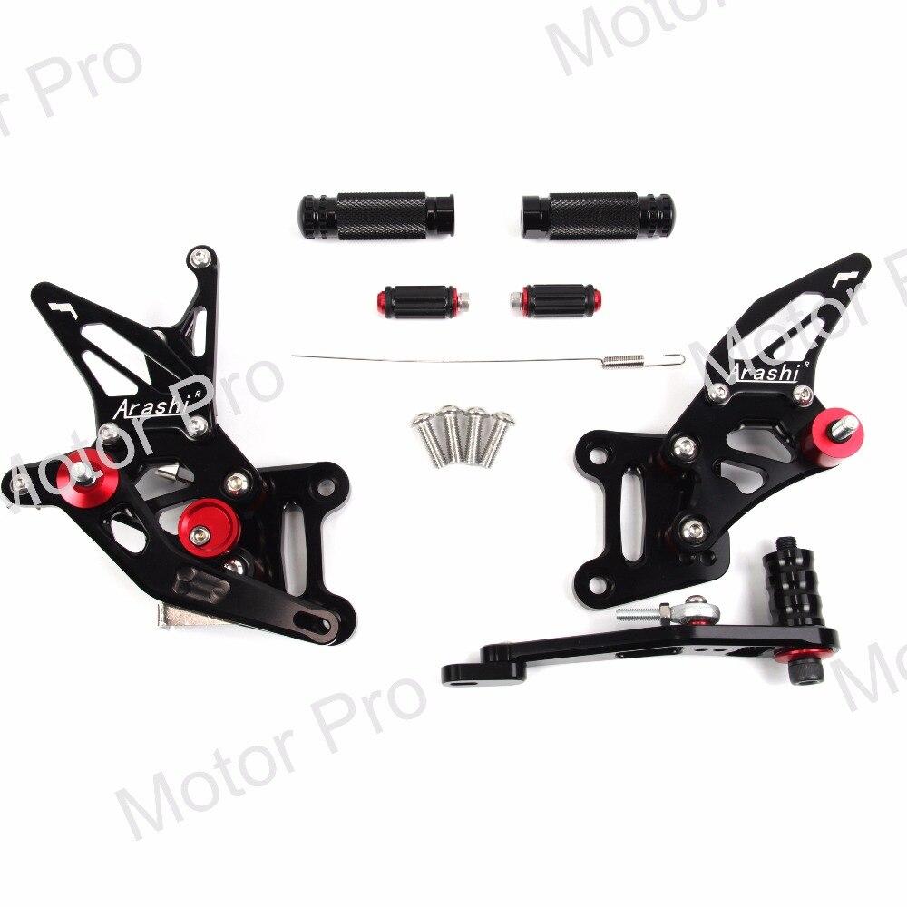 Регулируемый подножки для SUZUKI GSX-R 1000 2017 2018 GSX R GSX-R GSXR1000 мотоцикл подножки лежит Rearset сзади Комплект Педали черный