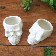 цена на Ceramic Cool Skull Capita Plants Potted Small Flower Pot Planter Succulent Desktop Ornaments New