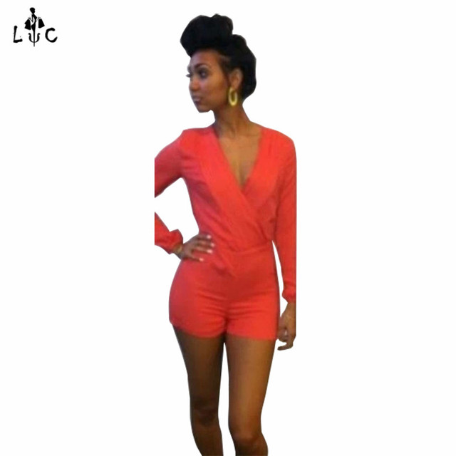 e235e59bd9df Rompers Womens Jumpsuit 2016 New Arrival Sexy Deep V neck Long Sleeve  Backless Short Red Jumpsuit