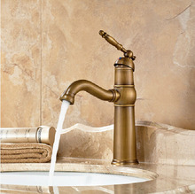 Antique Brass Swivel Spout Basin Sink Mixer Faucet Deck Mount One Hole Hot and Cold Two