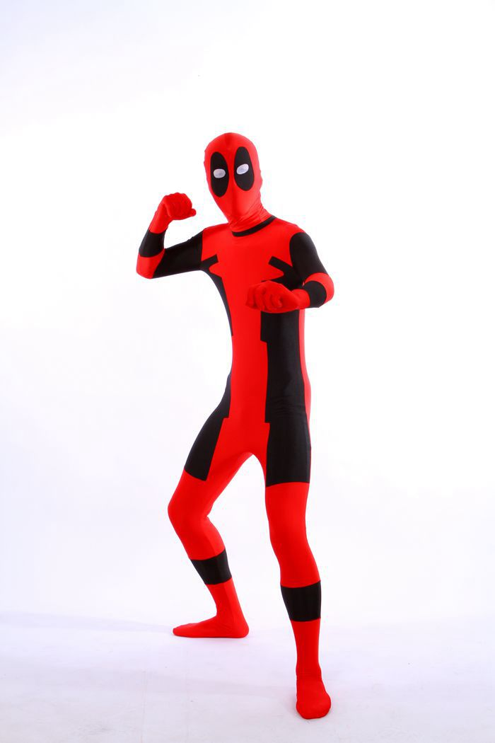 (DP915) Black And Red Tights Unisex Cheap Deadpool Fetish Zentai Suits Superhero Cosplay Halloween Party Costume