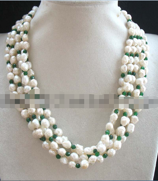 "Beautiful 5rows freshwater pearl baroque white green jade necklace 18"" nature (A0325)"