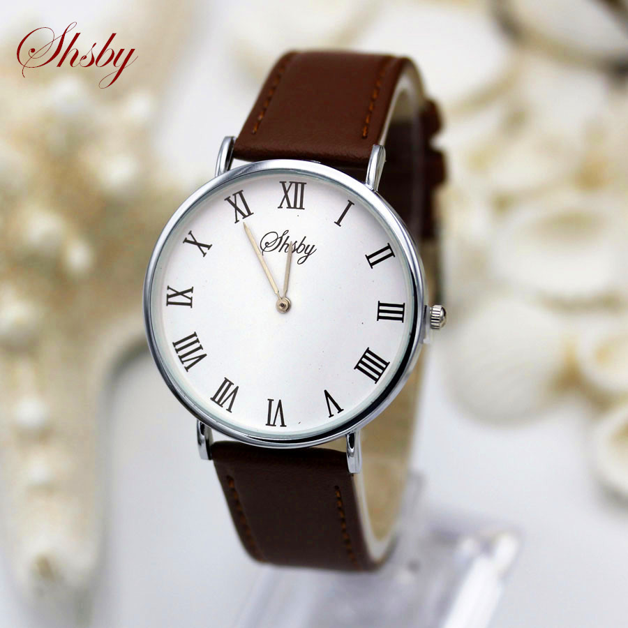 Shsby Band new Roman Fashion Men women Sports Military Watch  Couples casual style quartz-watch leather strap Business Relojes fashion grand touring gt watch men silicone strap quartz watch car racing style military sports outdoor wristwatch 2016 new