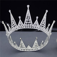Cenmon Newest Round Rhinestone Crown Tiaras Hair Jewelry for Women Pageant Prom Wedding Accessories Bridal Diadem Queen 2019