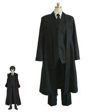 Anime Bungo Stray Dogs Dazai Osamu Cosplay Costume Black Trench Full Suits Men Costumes