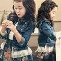 Kindstraum 2017 niños estilo hongo bottons abrigos de primavera y otoño niños ropa de mezclilla sólido ocasional chaquetas para niñas, rc1180