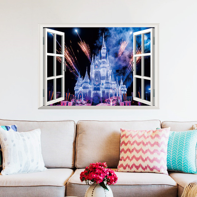 Fantasy Castle Sparkle Wall Decor Decals Vinyl Home Kids Playroom 3D DIY  Mural