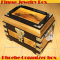 Phoebe solid wood antique jewelry storage organizer cosmetic case with drawer mirror ebony frame copper handles wedding decor